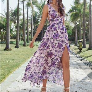 Floral maxi split lavender/purple dress
